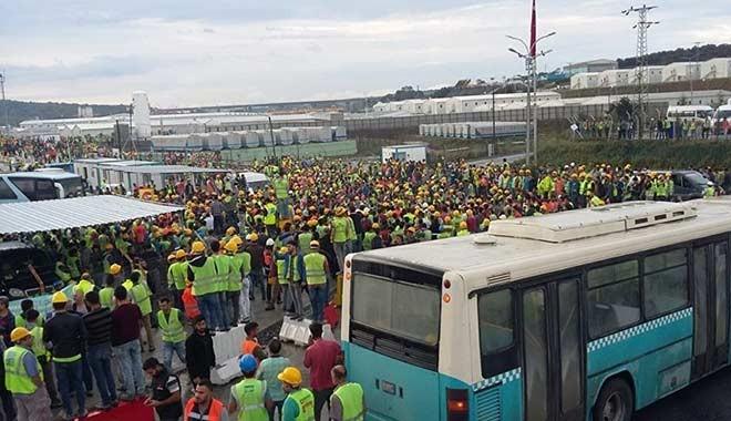 3. havalimanı inşaatında işçiler eylem başlattı! Yönetim binasının camları kırıldı
