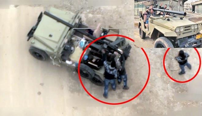 Çok konuşulan görüntü: Türkiye'ye roket atan teröristler böyle vuruldu!