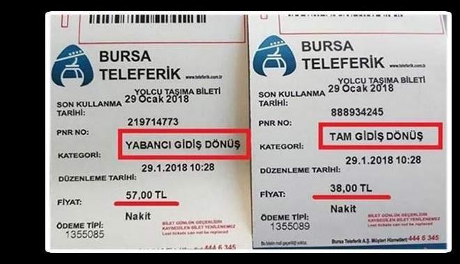 Uludağ'da teleferik yerliye 38, yabancıya 57 lira